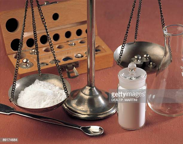 Close-up of potassium on a weighing scale