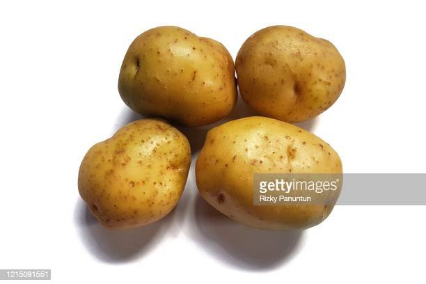 close-up of potatoes on white background - prepared potato stock pictures, royalty-free photos & images