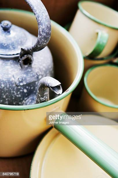 close-up of pots - enamel stock pictures, royalty-free photos & images