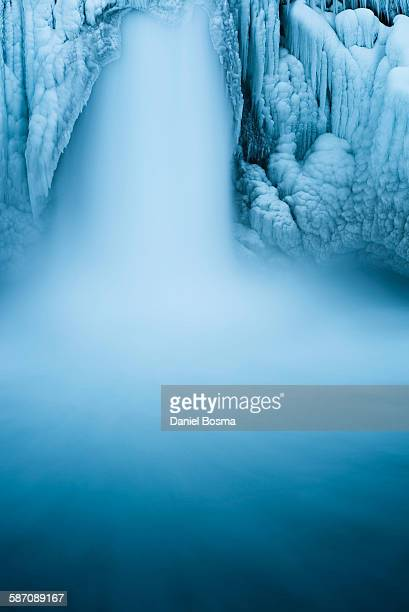 Close-up of powerful Icelandic waterfall