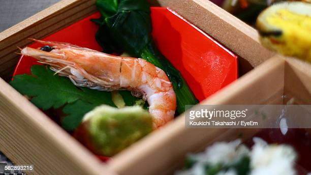 Close-Up Of Prawn In Bento Box