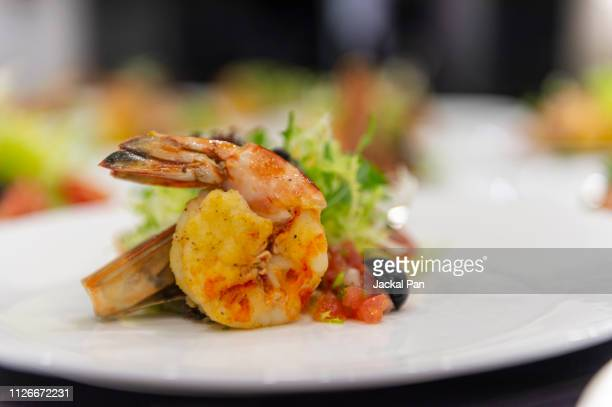 close-up of prawn salad - shrimps stock pictures, royalty-free photos & images