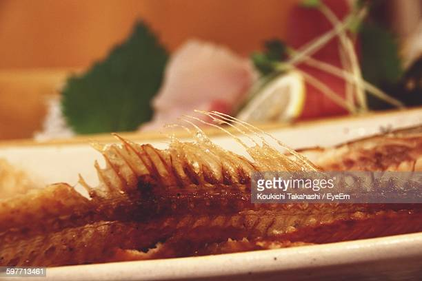 close-up of prepared fish in plate - koukichi koukichi stock photos and pictures