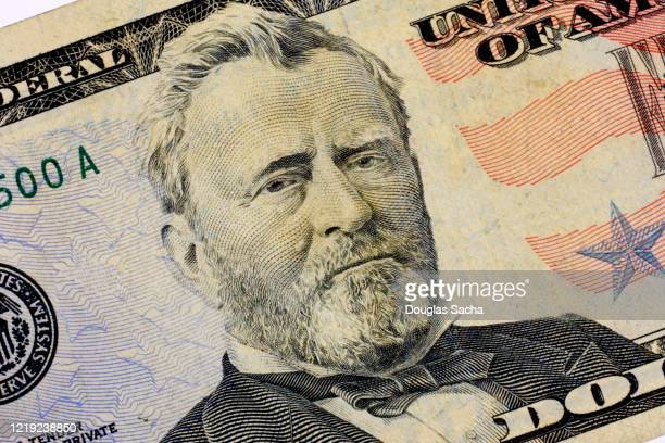 close-up of president u.s. grant on $50 paper money - presidente fotografías e imágenes de stock