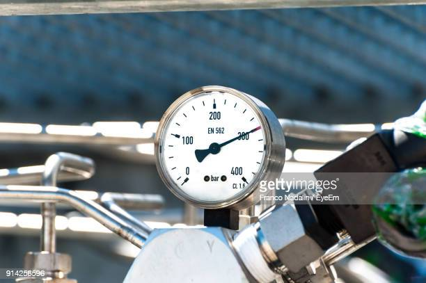 close-up of pressure gauge in factory - pressure gauge stock photos and pictures