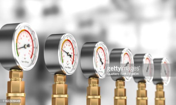 close-up of pressure gauges - gauge stock pictures, royalty-free photos & images