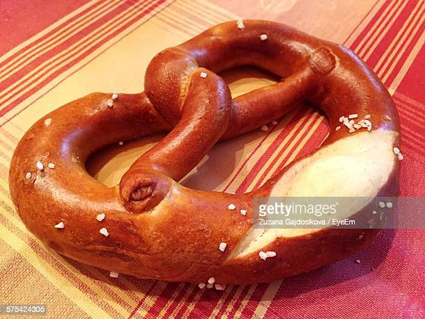 Close-Up Of Pretzel On Table