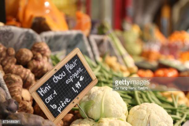 Close-Up Of Price Tag On Vegetables