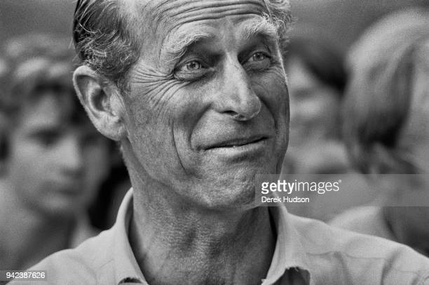 Closeup of Prince Philip Duke of Edinburgh as he smiles during a carriage driving event Home Park Windsor England July 1975