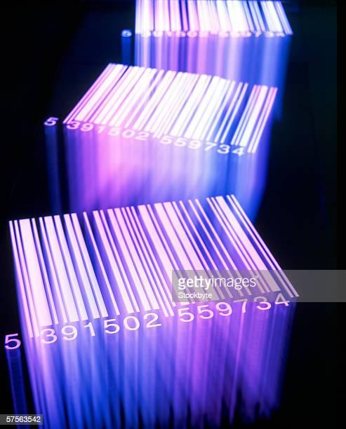 close-up of printed bar codes