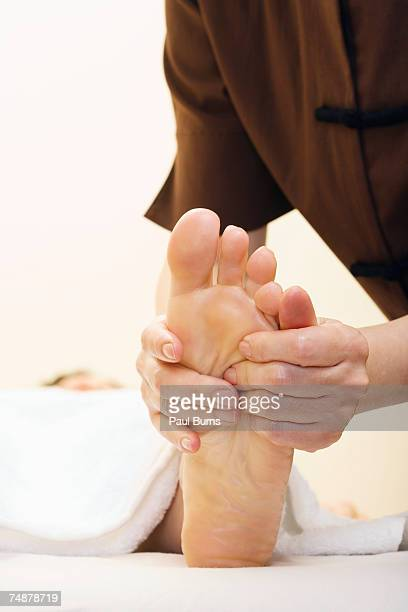 Close-up of professional foot massage
