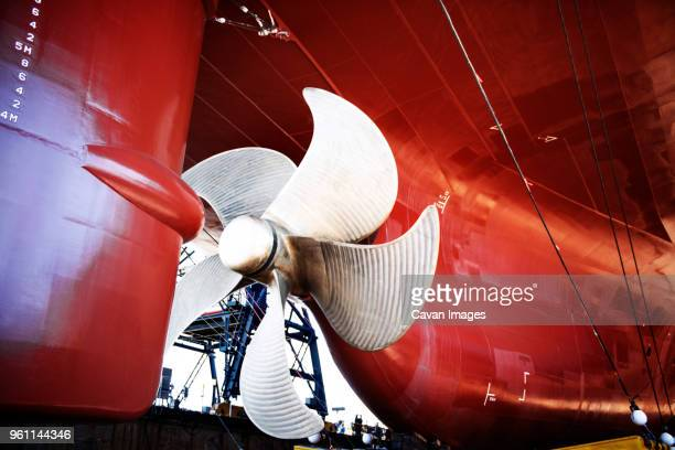 Close-up of propeller on container ship