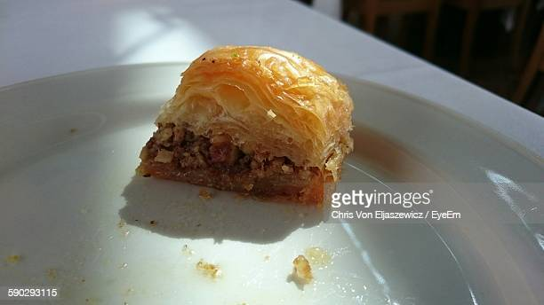 Close-Up Of Puff Pastry Snack In Plate