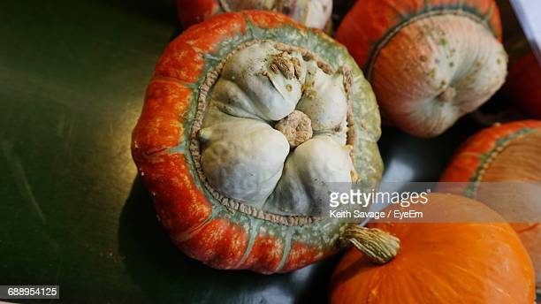 close-up of pumkins on surface - keith savage stock-fotos und bilder