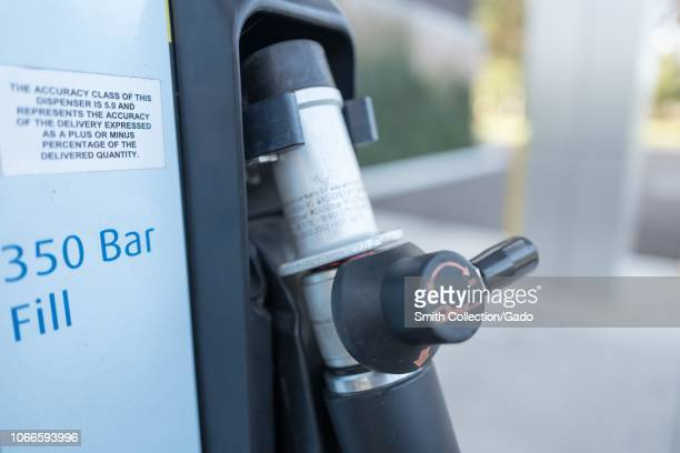 Close-up of pump apparatus at an experimental consumer hydrogen filling station for fuel cell emission-free cars, in San Ramon, California, November...