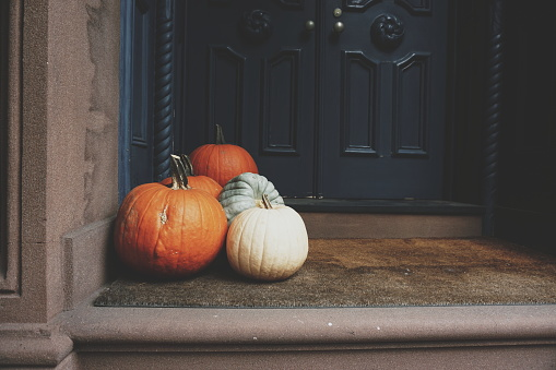 Close-Up Of Pumpkins On Porch - gettyimageskorea