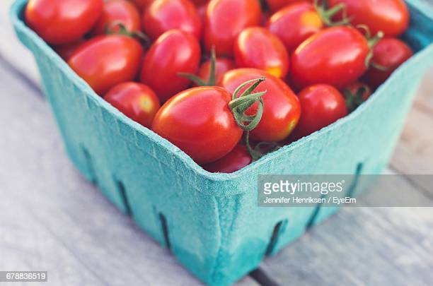 Close-Up Of Punnet Of Cherry Tomatoes