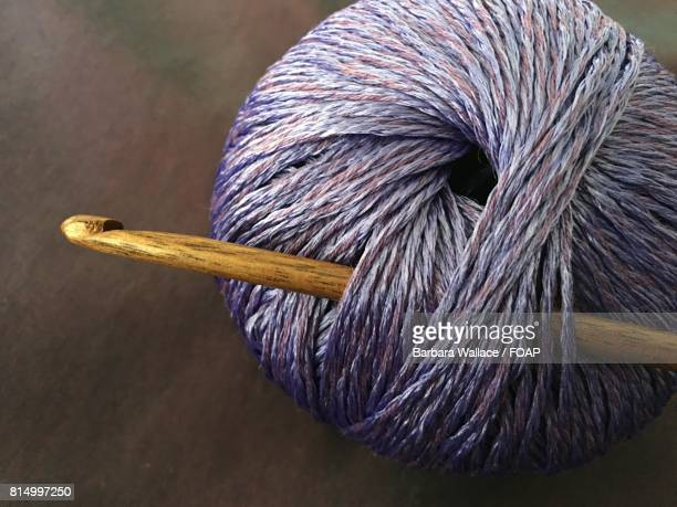 Close-up of purple yarn with crochet