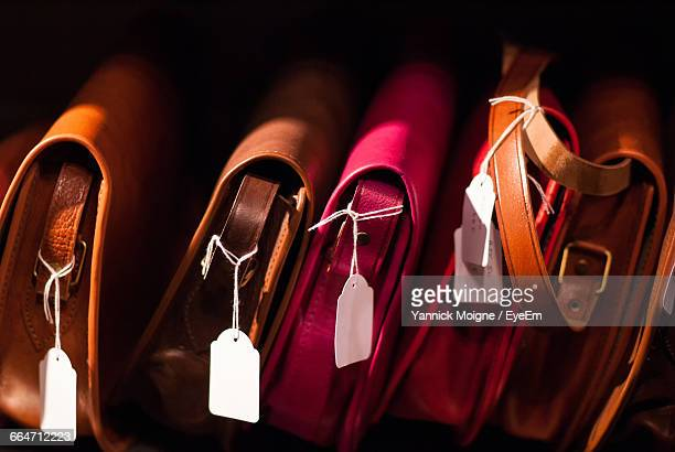 Close-Up Of Purses For Sale In Shop
