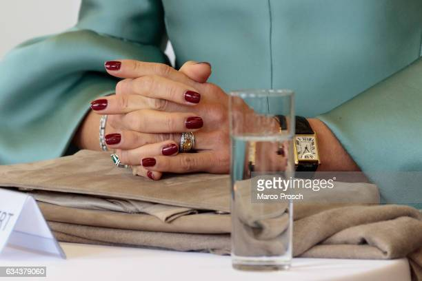 Close-up of Queen Maxima Of The Netherlands' hands during a visit to the Spinlab - a former cotton spinning mill now home to a startup accelerator,...