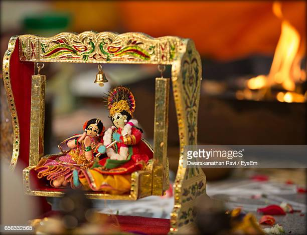 close-up of radha and krishna figurines - krishna stock photos and pictures