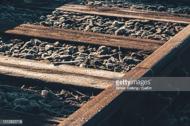 close-up of railroad track - colbing stock pictures, royalty-free photos & images