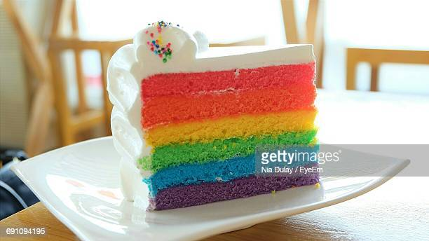 Close-Up Of Rainbow Cake