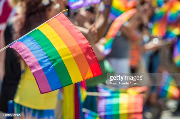 close-up of rainbow flag with crowd in background during parade - orgoglio foto e immagini stock
