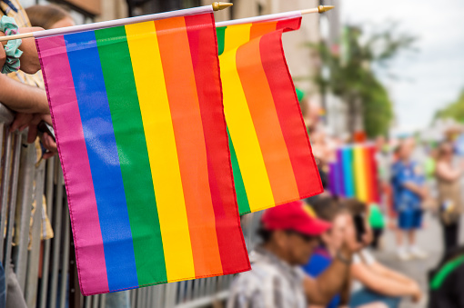 Close-Up Of Rainbow Flags With Crowd In Background During Parade - gettyimageskorea