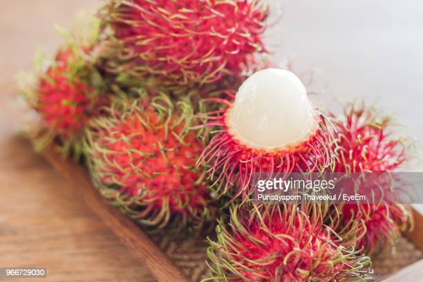 Close-Up Of Rambutans In Tray On Table