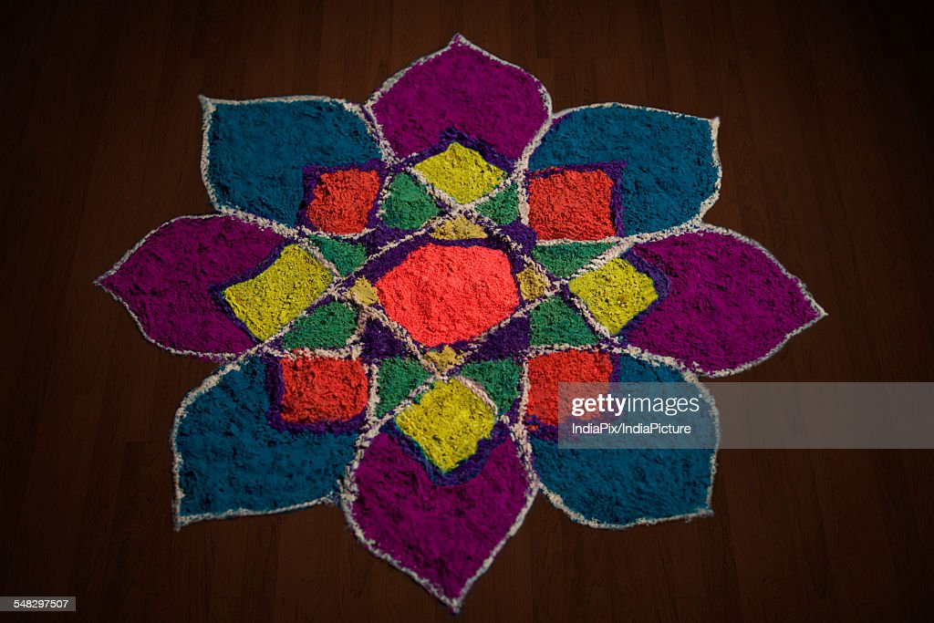 Close-up of rangoli : Foto de stock