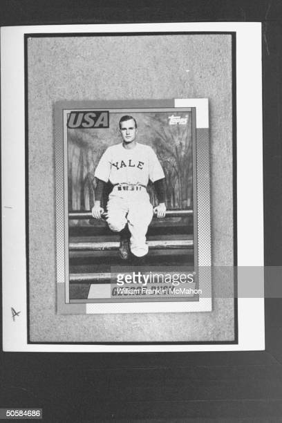 Closeup of rare baseball card of George Bush in 1947 baseball Yale baseball uniform owned by card collectors Lee Hull Dan Cook who are accused of...