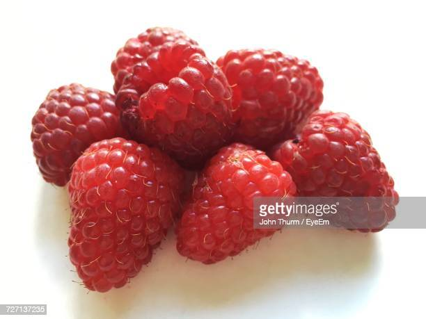 Close-Up Of Raspberries On White Background