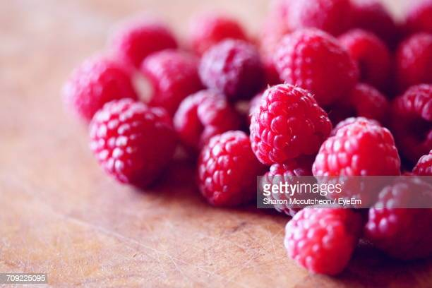 Close-Up Of Raspberry At Table