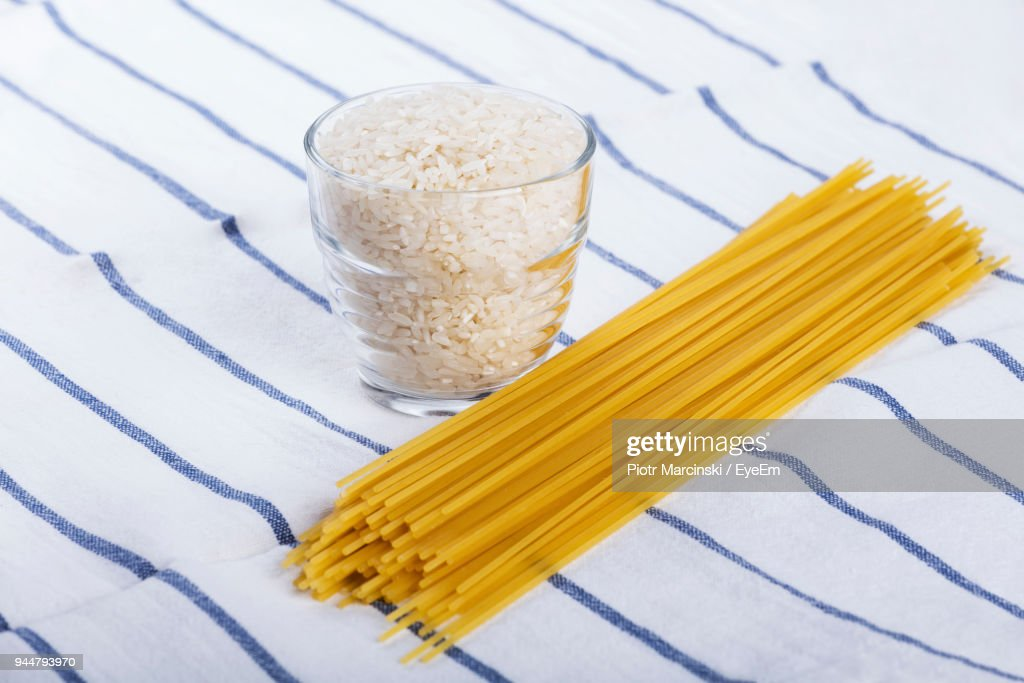 Close-Up Of Raw Food On Tablecloth : Stock Photo