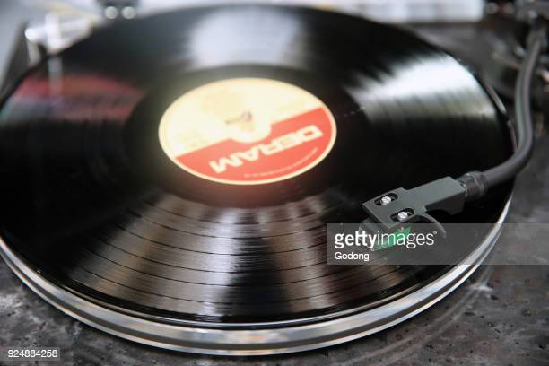 Closeup of Record on Turntable France