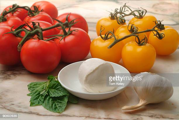 Closeup of red and yellow tomatoes on a marble table top next to a bulb of garlic several basil leaves and a bowl of mozzarella cheese 2009
