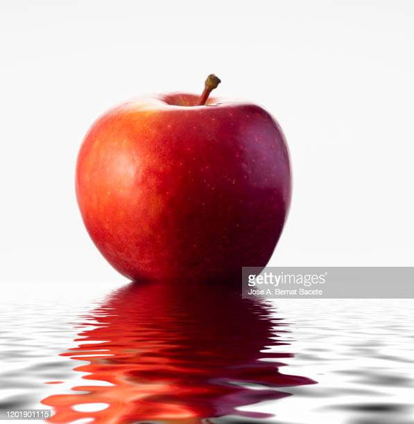 close-up of  red apple against white background - juicy stock pictures, royalty-free photos & images