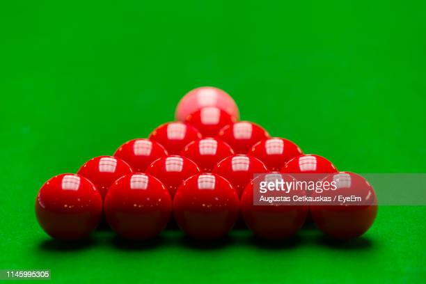 close-up of red balls on table - snooker stock pictures, royalty-free photos & images