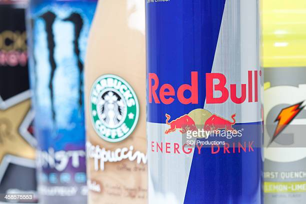 Closeup of Red Bull and Other Energy Drinks