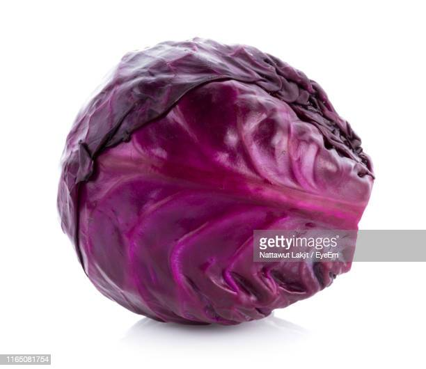 close-up of red cabbage against white background - rodekool stockfoto's en -beelden