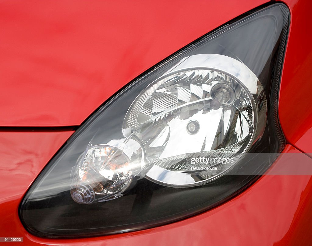 Close-up of red Car headlight : Stock Photo
