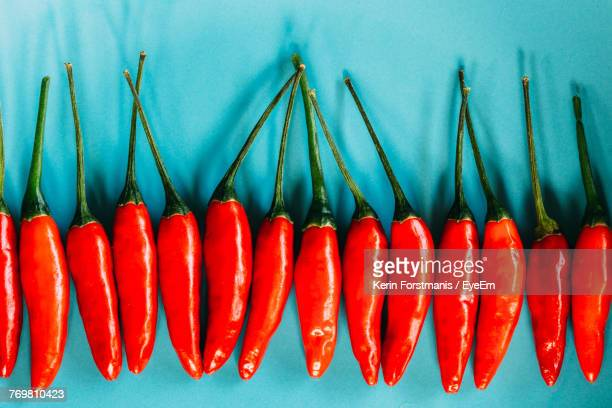 Close-Up Of Red Chili Over Blue Background