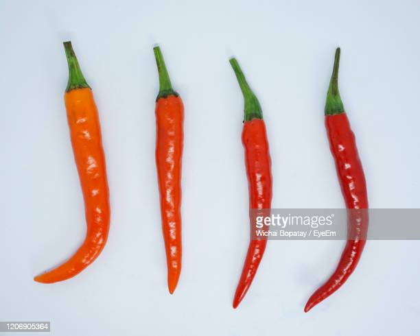 close-up of red chili pepper against white background - red bell pepper stock pictures, royalty-free photos & images