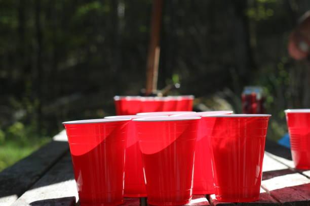 Close-up of red garbage bin