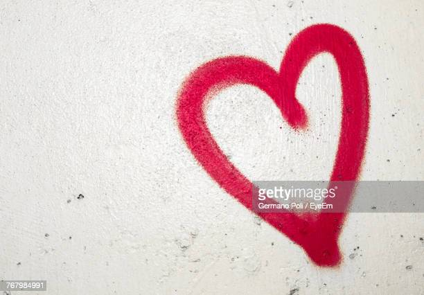 Close-Up Of Red Heart Shape On White Wall