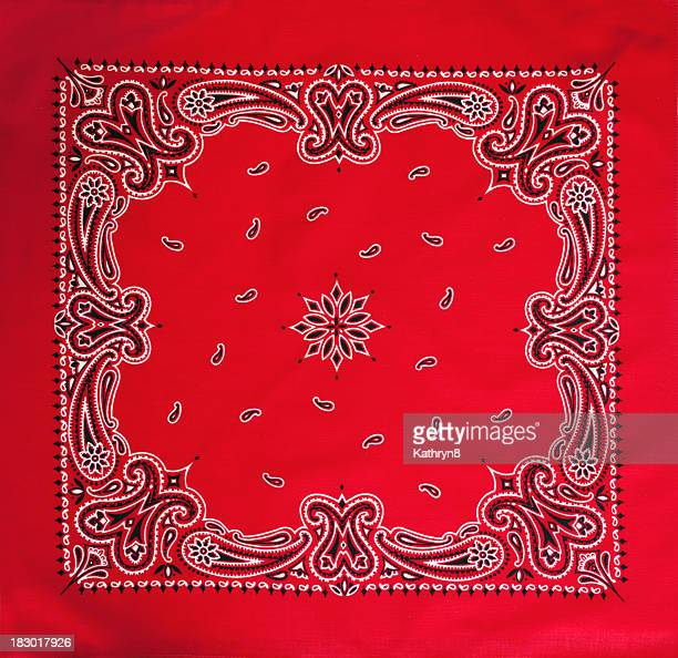 Close-up of red patterned bandana