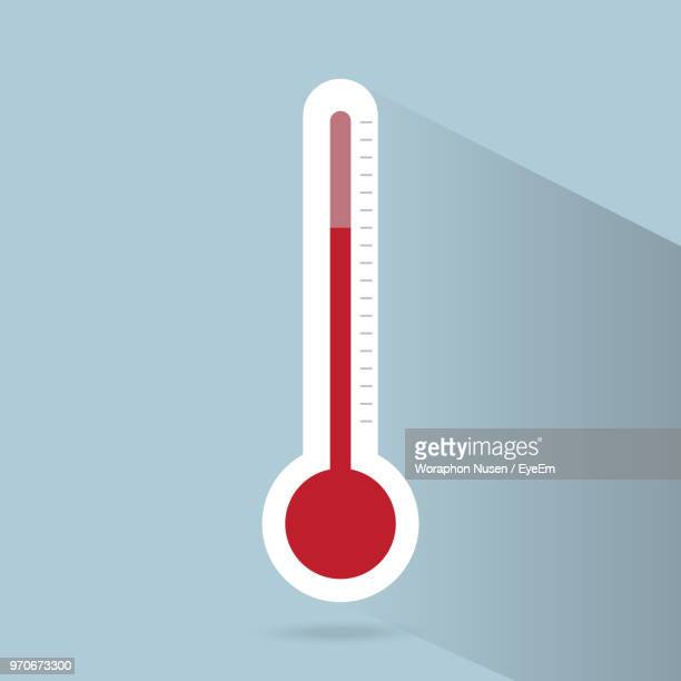 Close-Up Of Red Thermometer Against Wall