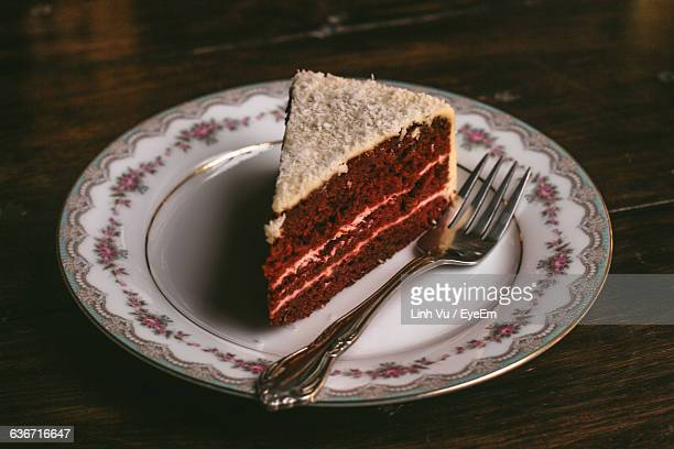 Close-Up Of Red Velvet Cake Served In Plate