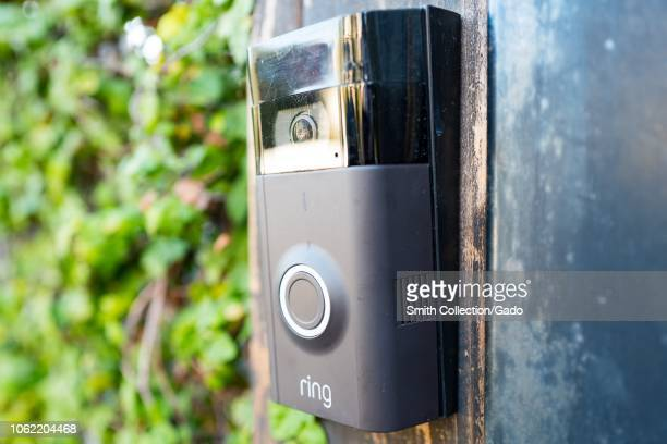 Closeup of Ring doorbell equipped with a camera and machine learning capabilities installed outside a home in the Marina Del Rey neighborhood of Los...